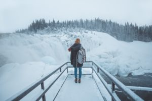 girl travelling solo in winter